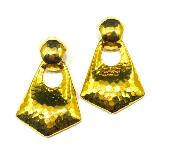 Vintage GOLD Color DOOR KNOCKER 80s 90s Hip-hop Chunky Hoop Earrings Hammered Metal Jewelry Stylish Industrial