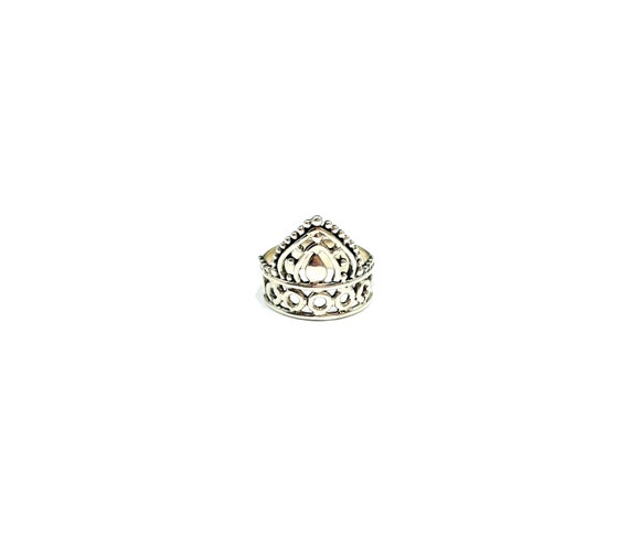 Sterling SILVER Stackable CROWN Ring Filigree Cutout Cut Out Details Artisan Boho Bohemian Unique Size 5 6 7