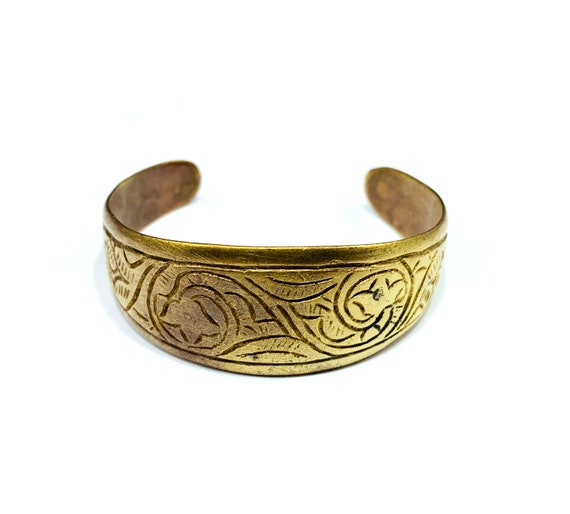 Vintage Afghan Aged Metal Gold Brass Tone Etched Carved Cuff Bracelet Bohemian Boho Chic Tribal Jewelry Middle Eastern