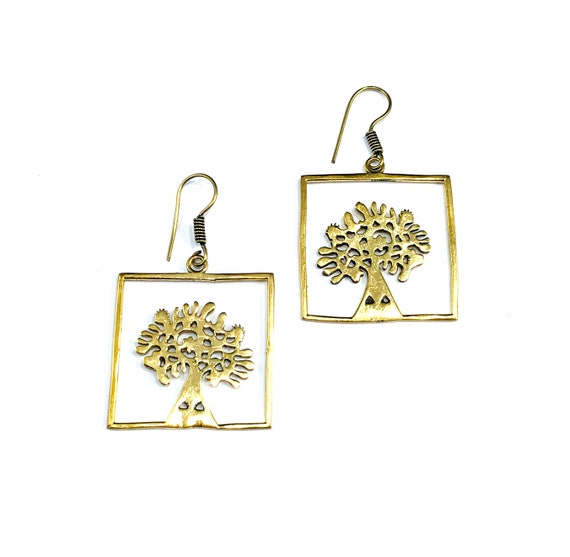 GOLD Tone Brass Tree of Life Nature Natural Dangle Metal Earrings Novelty Boho Bohemian Chic