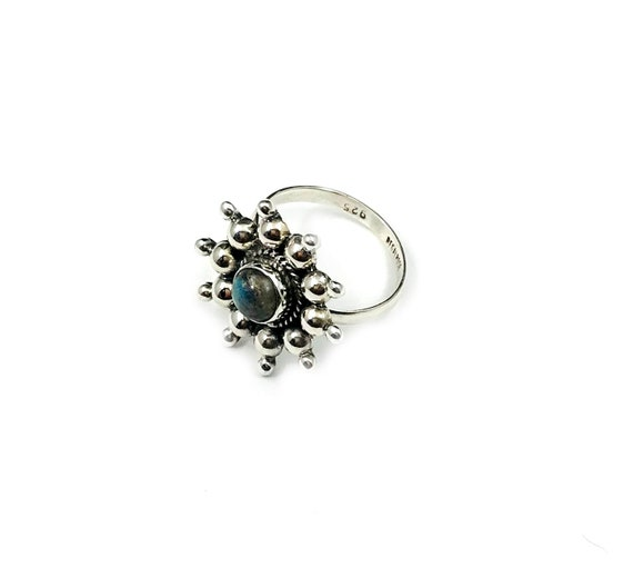 Floral Sterling SILVER Beaded LABRADORITE Stone Mystical Magickal Magical Statement Artisan Ring Size 6 6.25