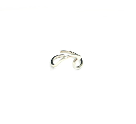 Minimalist Sterling SILVER Abstract Art Artisan Ring Thin Band Adjustable Unique Stackable Size 5 6 7 8 9