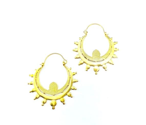 GOLD Tone Brass Details HOOP Earrings Indian Middle Eastern Stunning Statement Earrings