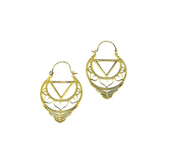 INTRICATE Cutout Cut Out GOLD Tone BRASS Metal Hoop Earrings Hoops Indian Middle Eastern Hippie Boho Chic Bohemian Unique Artisan Earrings