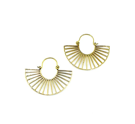 GOLD Tone BRASS Cutout Cut Out Half Moon Hoop Earrings Metal Wire Artisan Minimalist Jewelry Boho Bohemian Style