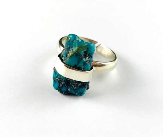 Rough Turquoise Silver Boho Chic Festival Ring Size 7