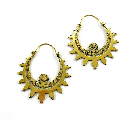 GOLD tone Brass HOOP Earrings Indian Middle Eastern Asian Boho Bohemian Chic Artisan Metal Tribal Jewelry
