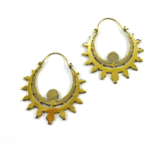 GOLD tone Brass HOOP Earrings Indian Middle Eastern Asian Boho Bohemian Chic Artisan Metal Tribal Jewelry