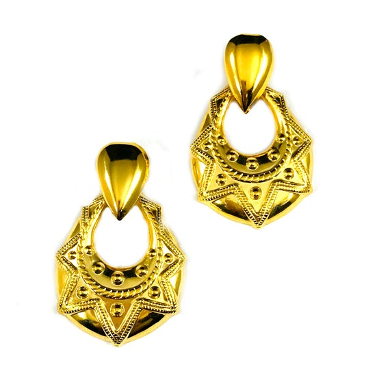 Vintage GOLD Tone Geometric Mini DOORKNOCKER Door Knocker Hoop Hoops Earrings Designs Tribal 80's 90's Hip-hop Jewelry Pierced