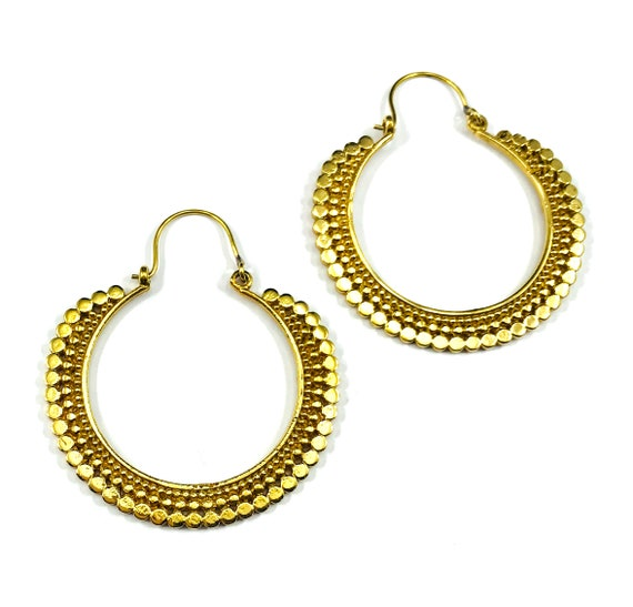 GOLD Tone Color Metal BRASS Indian Middle Eastern Tribal Circle Detail Geometric Hoop Earrings Boho Chic Bohemian Stylish