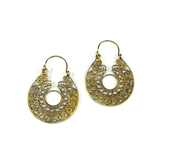 INTRICATE Brass Metal GOLD Tone Color Hoop Earrings Detailed Designs Indian Middle Eastern Tribal Boho Chic Jewelry