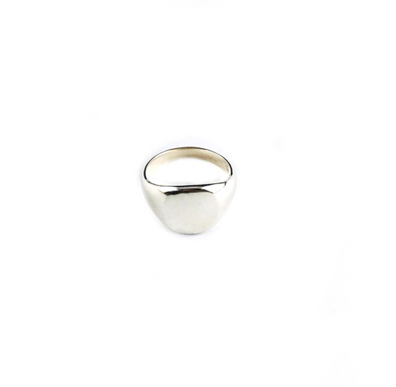 Minimalist Silver Signet Ring Mens Womens Artisan Cool Art Size 8
