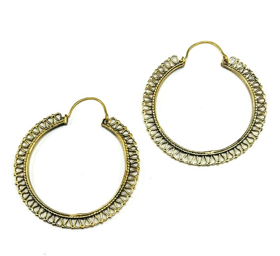 GOLD Color Brass Metal Cutout Hoops Hoop Earrings Jewelry Boho Bohemian Chic Indian Middle Eastern Gypsy Medium Size