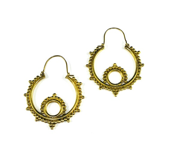 GOLD Tone Color Brass Earrings Beaded Bead Spike Detail Circle Hoop Hoops Indian Middle Eastern Boho Chic Metal Tribal