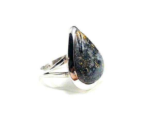 Statement Gray JASPER Stone Silver Split Shank Double Band Ring Boho Hippie Gypsy Bohemian 7