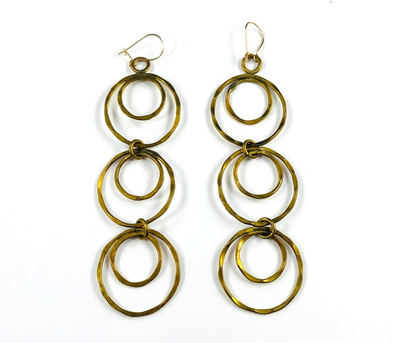 Vintage Hammered Brass Metal Boho Dangle Drop Statement Earrings Circles Hoops Geometric Pierced Hook