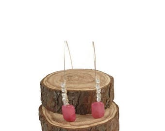 NEW! / Pink rose quartz earrings/ dangle earrings/ wire wrapped/ sparklingwire/ wire wrapped bangles