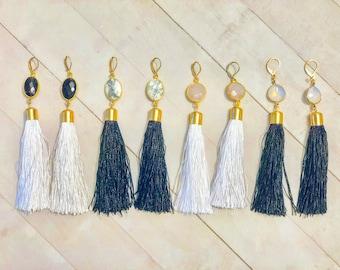 NEW! / Tassel dangle earrings/ white opal/ drop earrings/ wire wrapped bangles