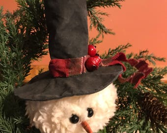 Primitive Snowman head ornament.