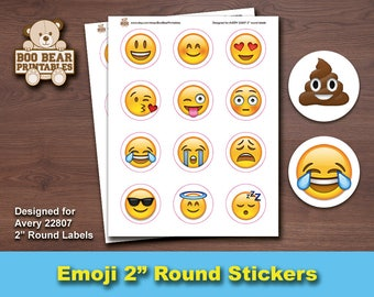 Emoji Labels, Emoticons, Printable, DIY, Social Media Labels, Face Stickers, 2 Inch Round, Avery 22807, Birthday Favors, Digital, Gift Tags