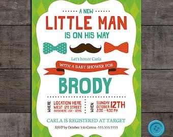 Mustache and Bowtie  Little Man Baby Shower Invitation - Customizable - Digital File