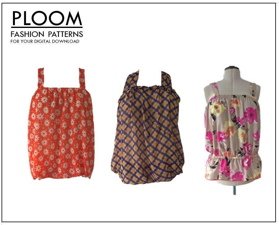 Summer tops PDF digital sewing patterns, 3 styles, halter neck ...