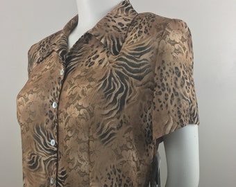 Vintage K. Petite Collection| Sheer Leopard Print Short Sleeved Blouse with Keyhole Back| New with Original Tags| 100% Polyester| Size 12P