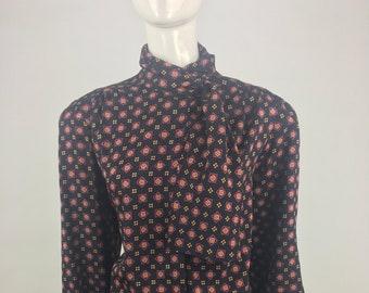 3f88777c03edc0 Vintage 1980 s Bretton Place Black Secretary s Blouse w Pink Tapestry Set  Pattern Print