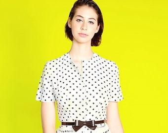 1960's Georgia Griffen Fashions White Silk Polka Dot Dress w Bow Belt|Black Polka Dot Shirt Dress|Silk Summer Dress|I Love Lucy Dress|Size 3