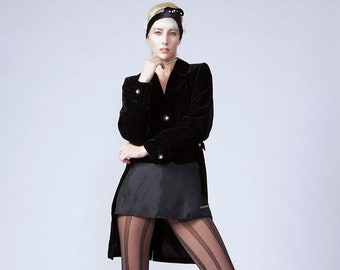 1990's Yves Saint Laurent Black Velvet Tailcoat|Cropped Tuxedo Jacket|Formal Event Jacket|Black Tie Jacket|Evening Jacket|Size 38 Small