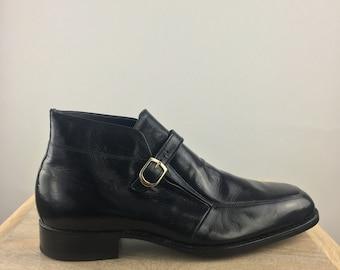 dff5be28ffeb5 Vintage 1980's Florsheim Imperial Black Men's Ankle Boots|Black Dress  Boot|Smart Casual Boot|Black Monk Boot|Black Round Toe Boots|Size 11 D
