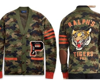 3b7a303a30e1 Polo Ralph Lauren Letterman s Cardigan Sweater w Camouflage   Embroidered  Accents