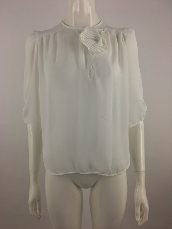 1980's First Glance White Blouse|Minimalist Blouse