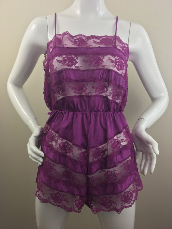 Vintage Pinx Lingerie| Purple Bodysuit with Lace Accents | Made in USA|  100% Nylon| Size Medium