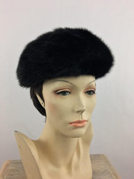 1960's Marshall Field's Black Mink Fur Hat|Pillbo… - image 3