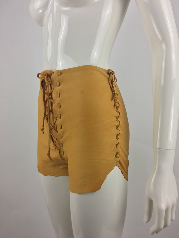 1970's Tan Leather Shorts|Lace Up Leather Hippy S… - image 5