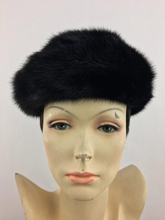1960's Marshall Field's Black Mink Fur Hat|Pillbo… - image 1