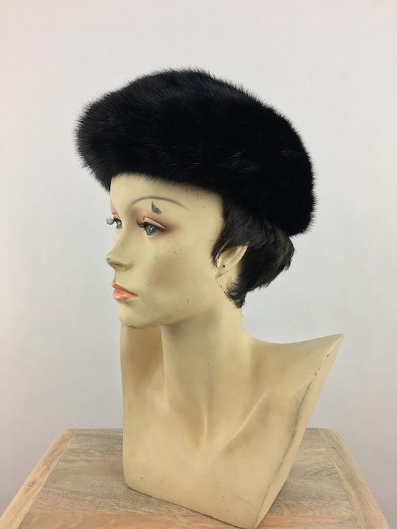 1960's Marshall Field's Black Mink Fur Hat|Pillbo… - image 5
