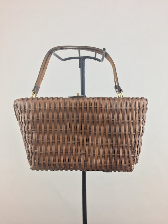1960's Brown Wicker Basket Purse|Wicker Picnic Bag
