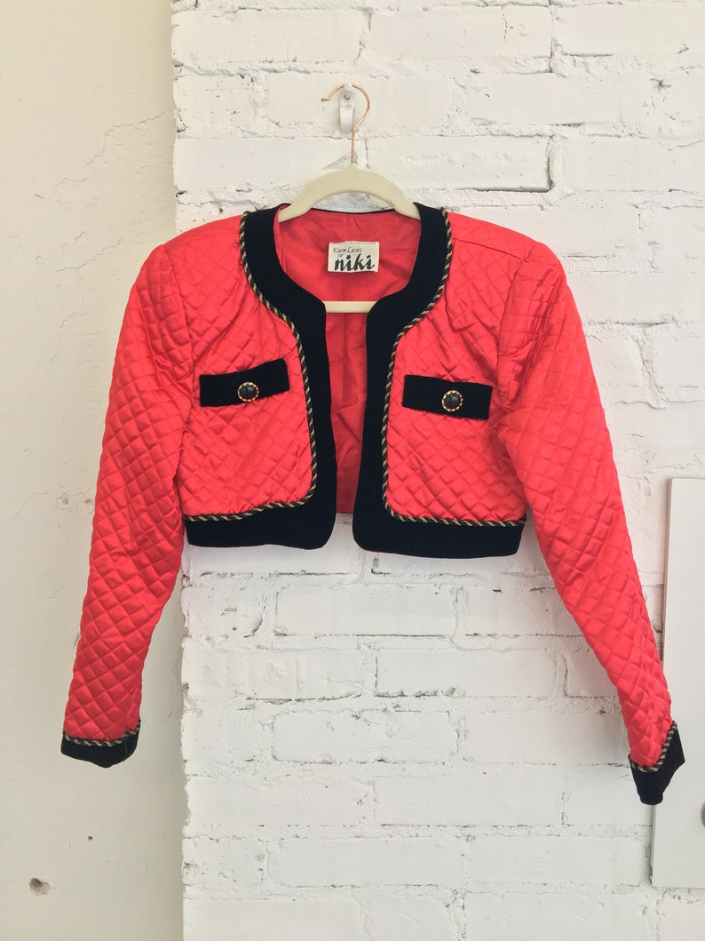 1980/'s Karen Lucas for Niki Red Cropped Jacket|Quilted Bolero Jacket|Red Quilted Shrug|Size Small