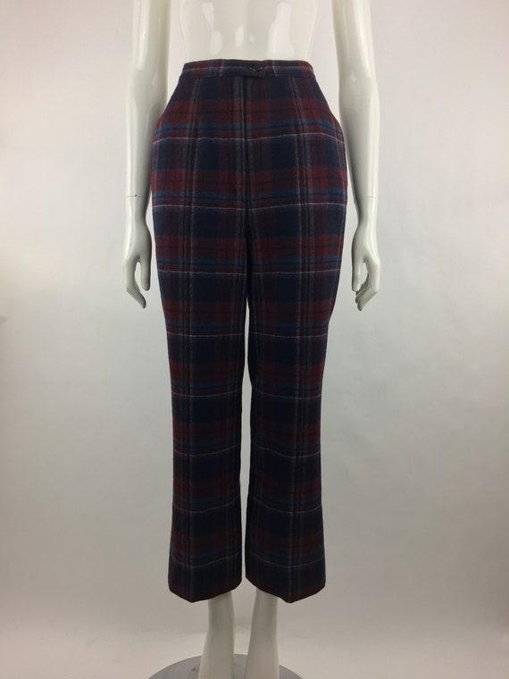 1980's Pendleton Classic Plaid Pants|Burgundy & B… - image 7
