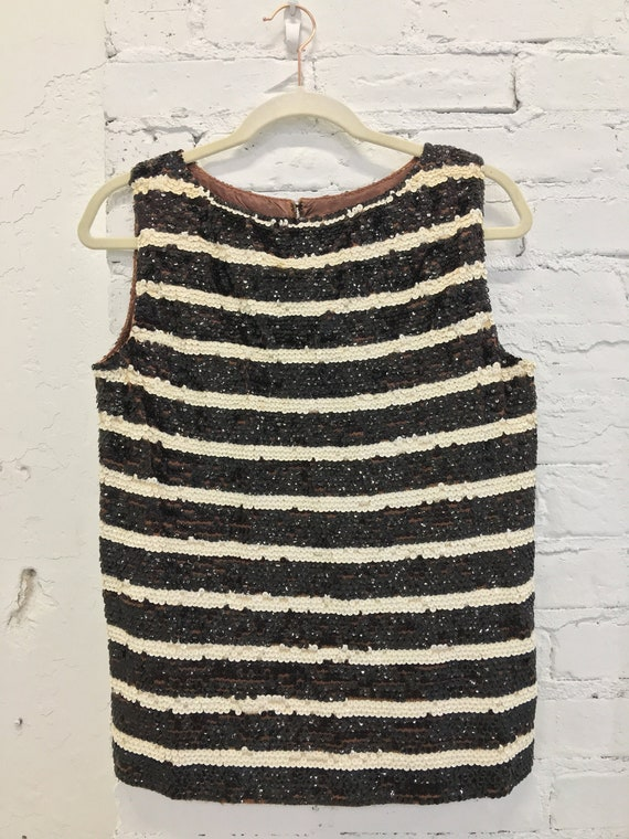 1960's Valentina Brown & White Striped Sequined Bl
