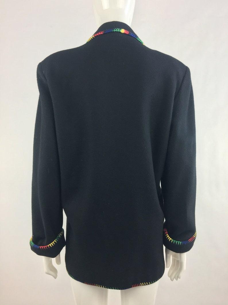 Concho and Fringe|Country /& Western Blazer|Black Wool Blend Blazer|Size Medium 1980/'s Black Southwestern Blazer w Colorful Trim