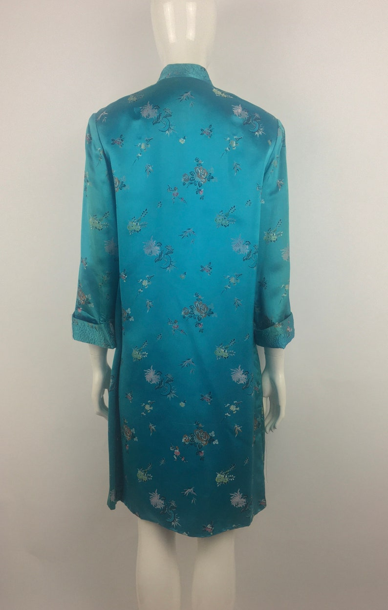 1960/'s Peony Teal Green Cheongsam Duster|Embroidered Qipao Jacket|Asian Jacket w Floral Print|34 Length Green Floral Jacket|Size L