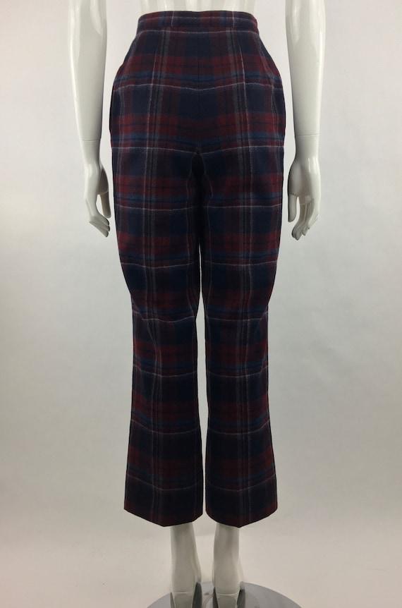 1980's Pendleton Classic Plaid Pants|Burgundy & B… - image 9