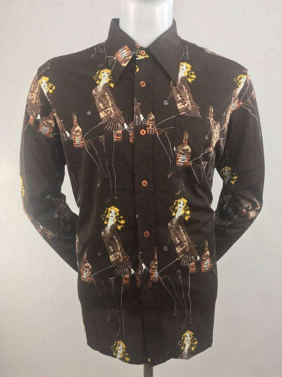 1970's Male Duds Brown Mixed Print Shirt|Whiskey &