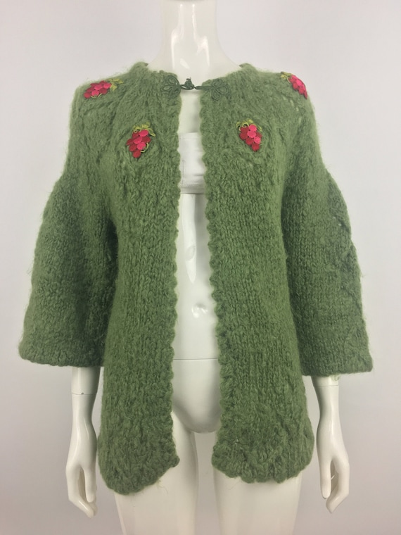 1960's Green Mohair Cardigan Sweater w Embroidered