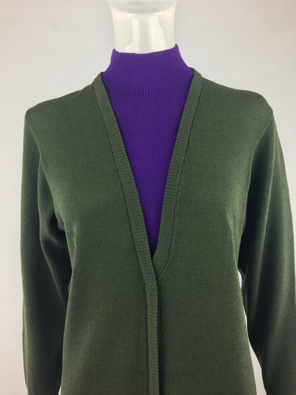 80s Dresses   Casual to Party Dresses 1980s St John By Marie Gray For I. Magnin Olive Green  Purple Knit DressColor Block DressMod Shift DressDog Show DressSize 4 $0.00 AT vintagedancer.com