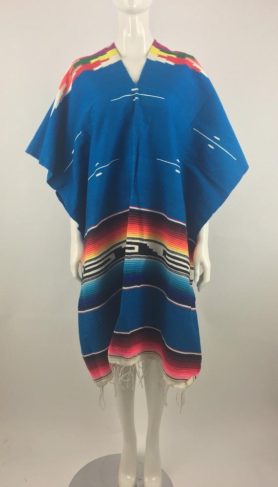1990's Mexican Blanket Poncho Serape Blanket Ponch