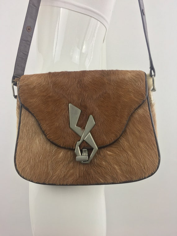 1980's Brown & White Pony Haired Leather Purse|Fro